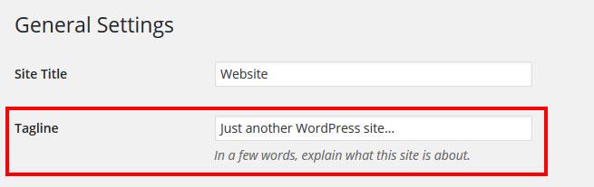 change default WordPress tagline