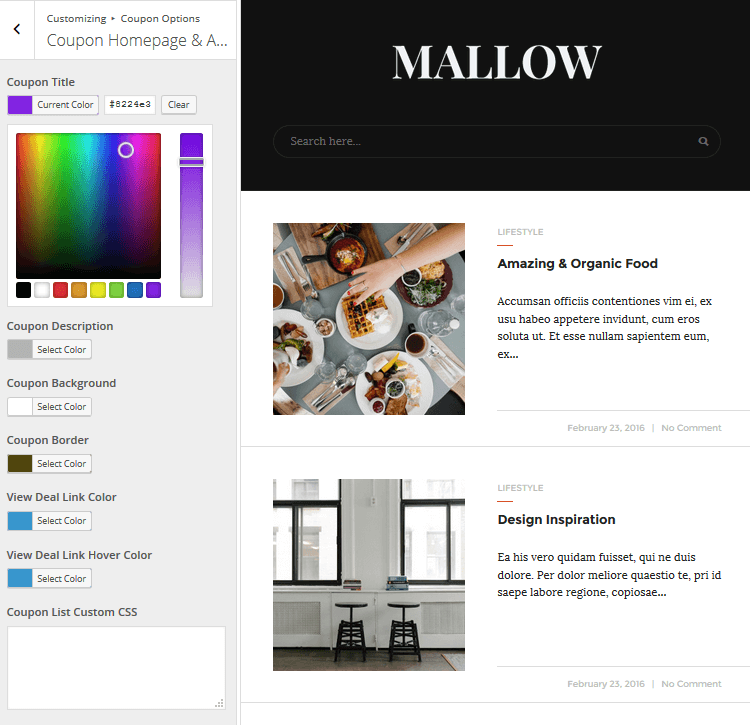 Mallow - Coupon Homepage & Archives Page