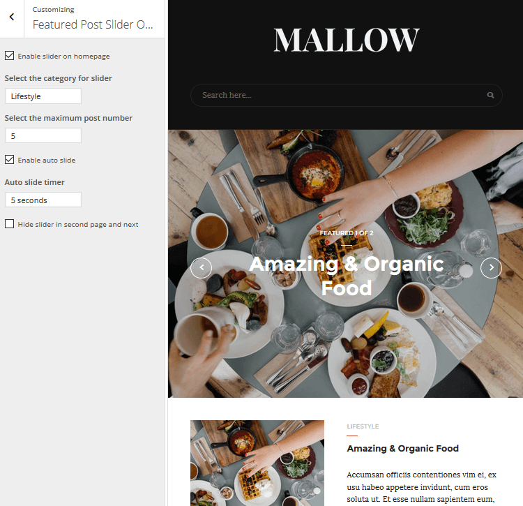 Mallow - Featured Post Slider