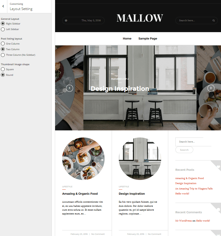 Mallow - Layout Setting