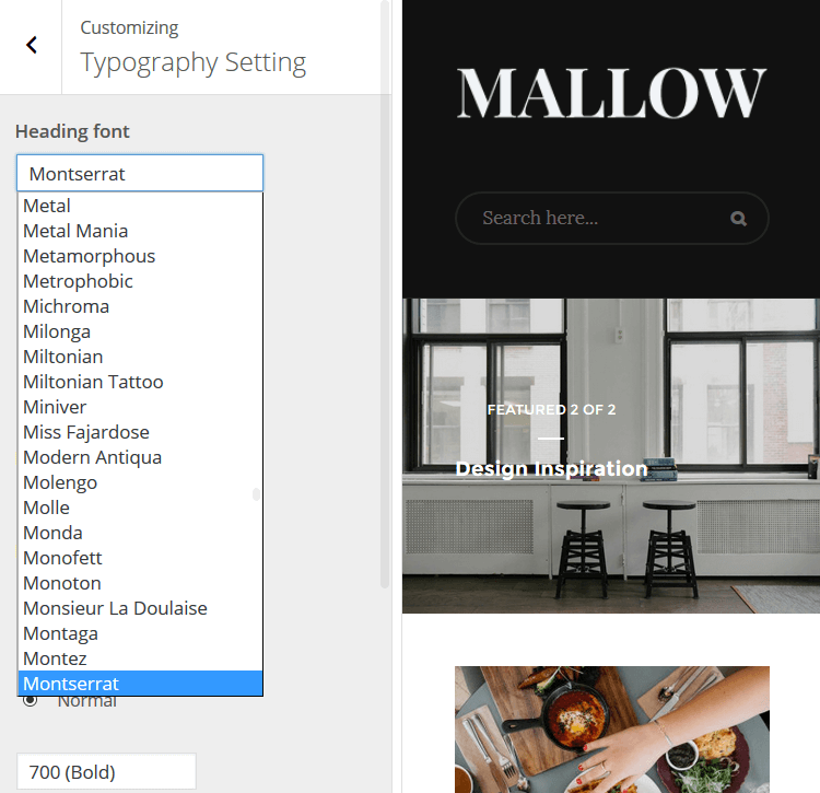 Mallow - Typography Setting