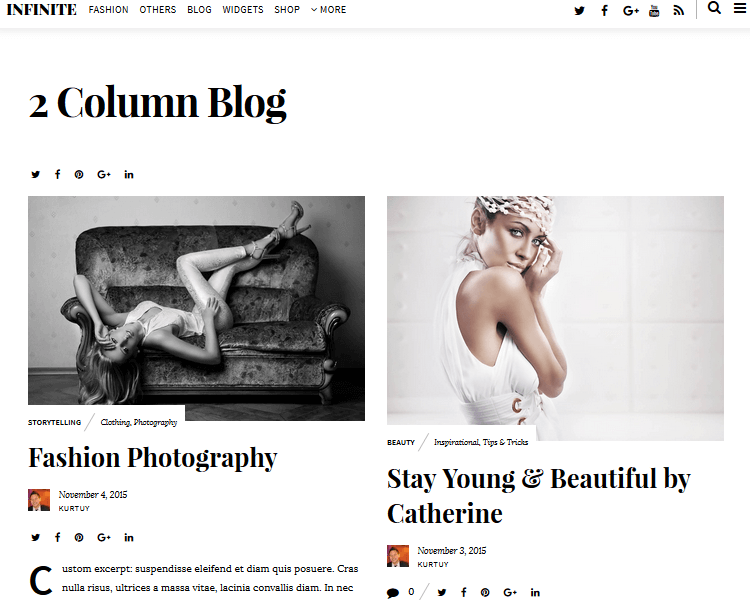 Infinite - Fashion WordPress Theme