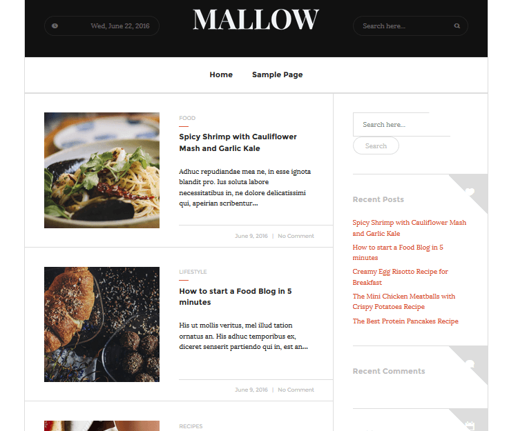 Mallow - Food WordPress Theme