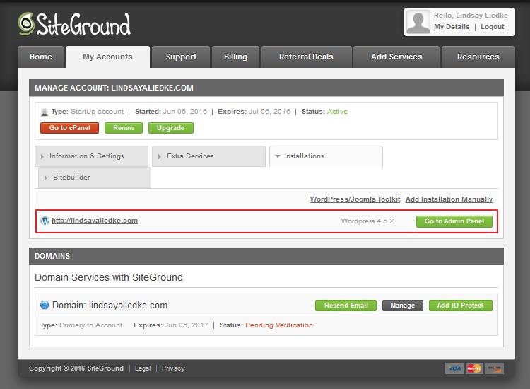 SiteGround - Successful WordPress Installation