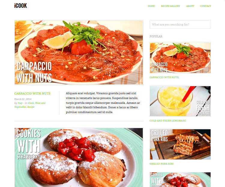 iCook - Food WordPress Themes