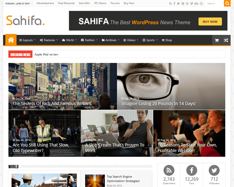 Best WordPress Blogging Themes - Sahifa