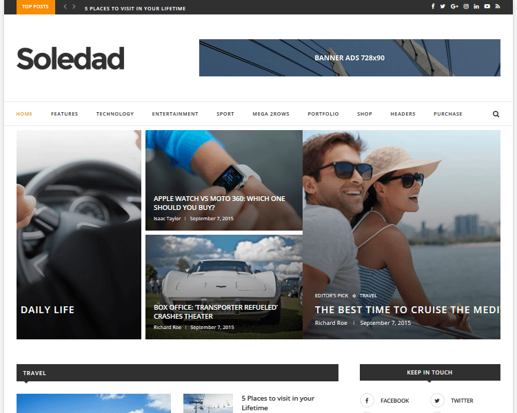 Best WordPress Blogging Themes - Soledad
