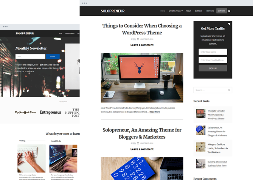 Solopreneur Responsive Blogging Theme for Boggers & Marketers